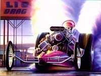 Artist Rendition of Dale in dragster