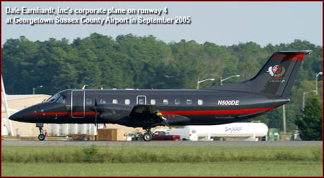 Dale Earnhardt, Inc's corporate plane on runway 4 at Georgetown Sussex County Airport in September 2005