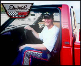 Dale Jr. in Autographed Dale Earnhardt Chevy Dealer Truck