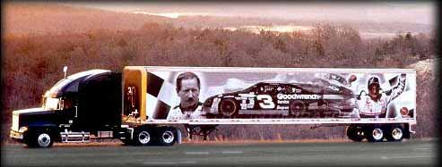 The #3 hauler, parked on roadside for photo with sunrise